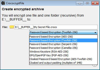 Open-source File encryption software CrococryptFile 1 5